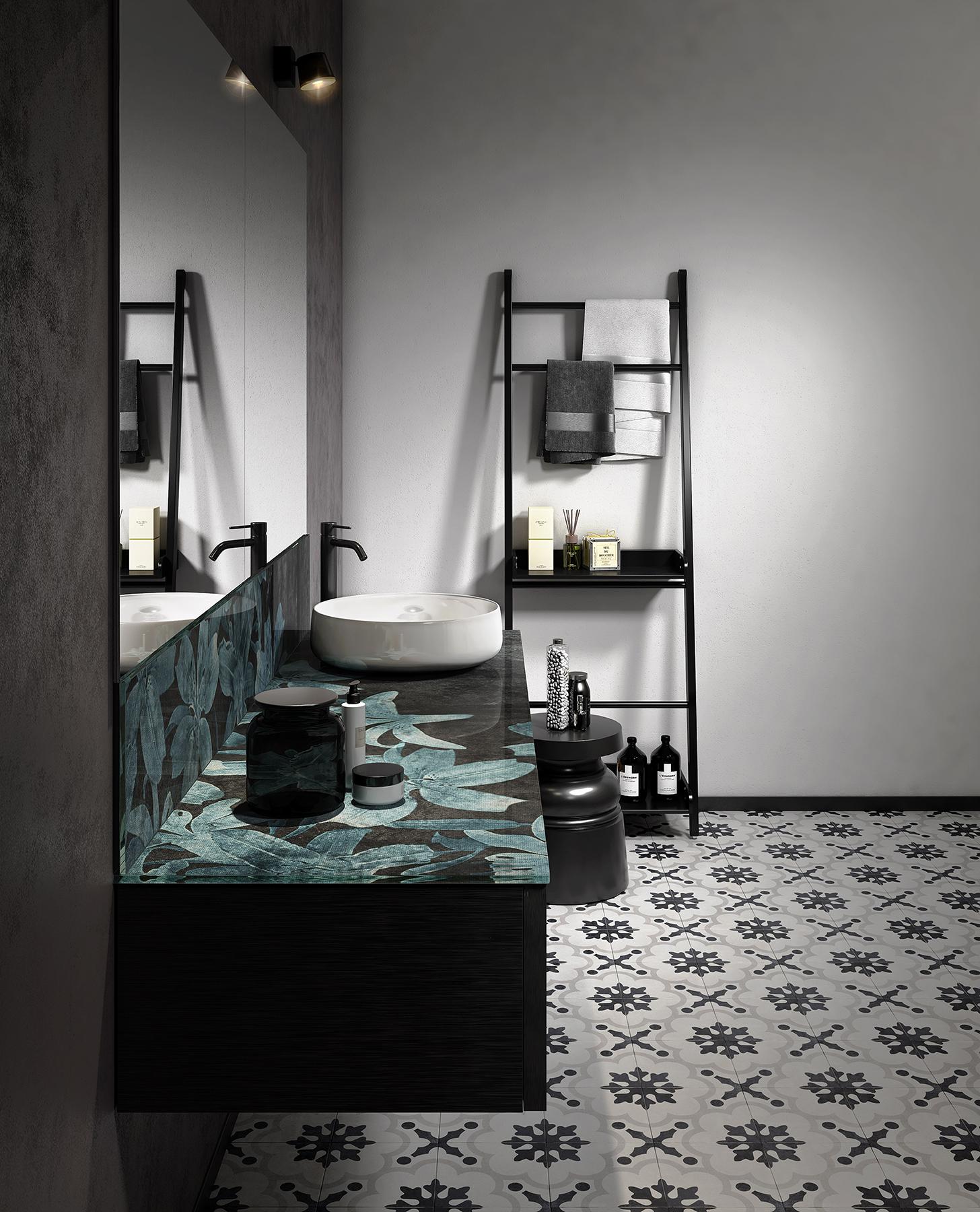 Modern +Skin Wall Mount Vanity Unit with Backsplash