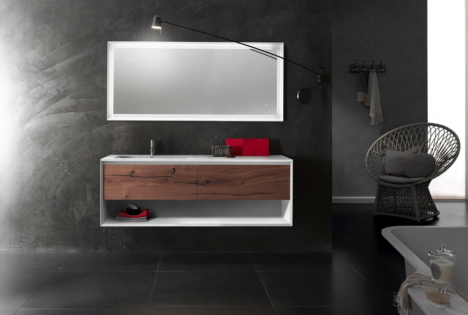 Modern 45 Degree Wall Mount Vanity w/ Open Shelf Series 1400