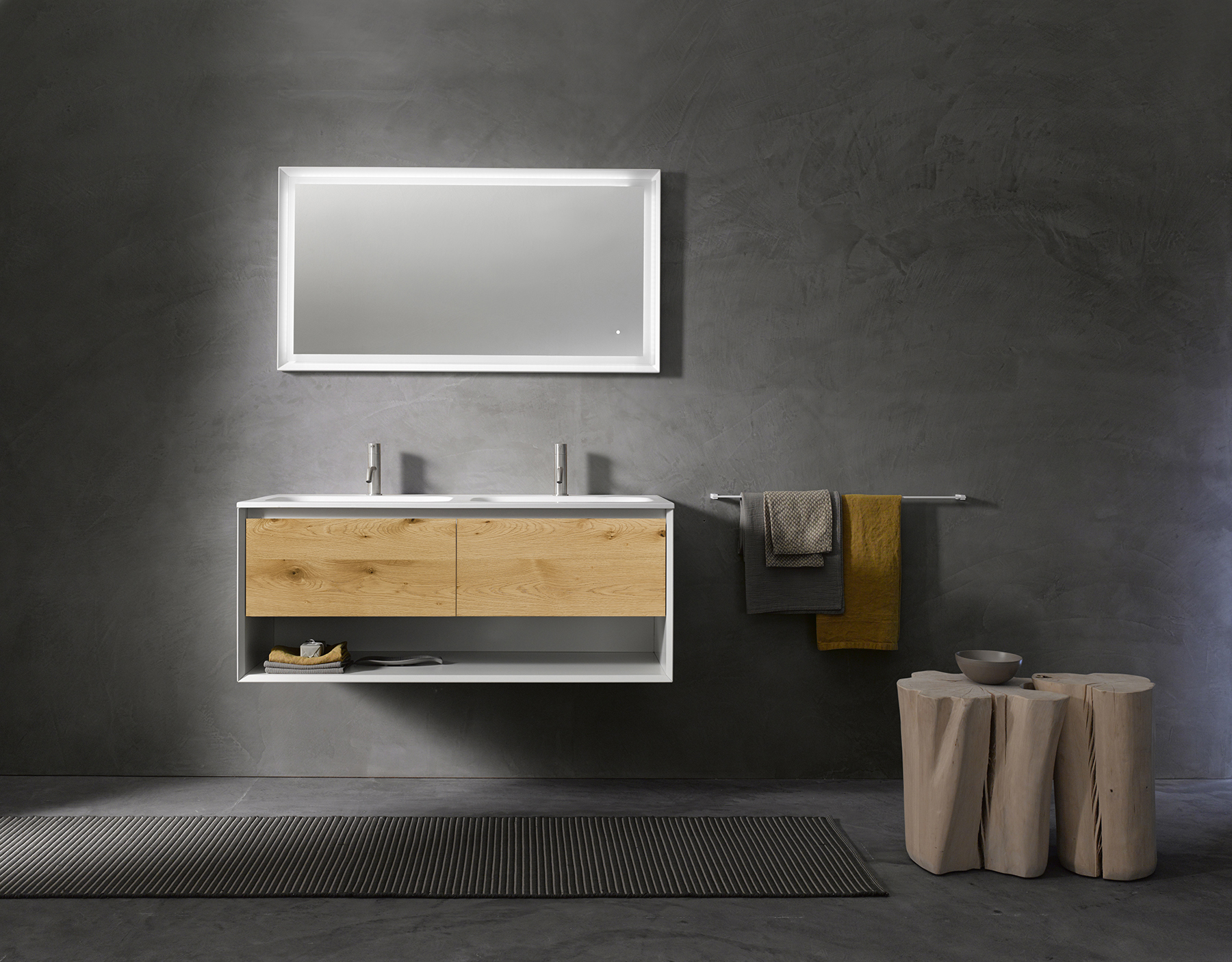 Modern 45 Degree Wall Mount Vanity w/ Open Shelf Series 1400