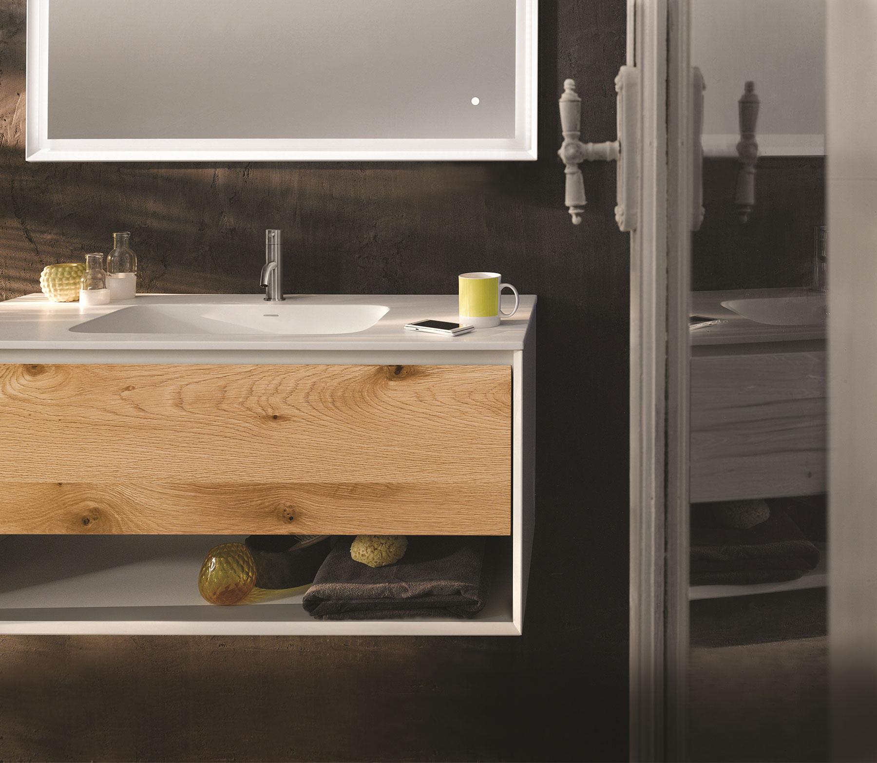 Modern 45 Degree Wall Mount Vanity w/ Open Shelf Series 900