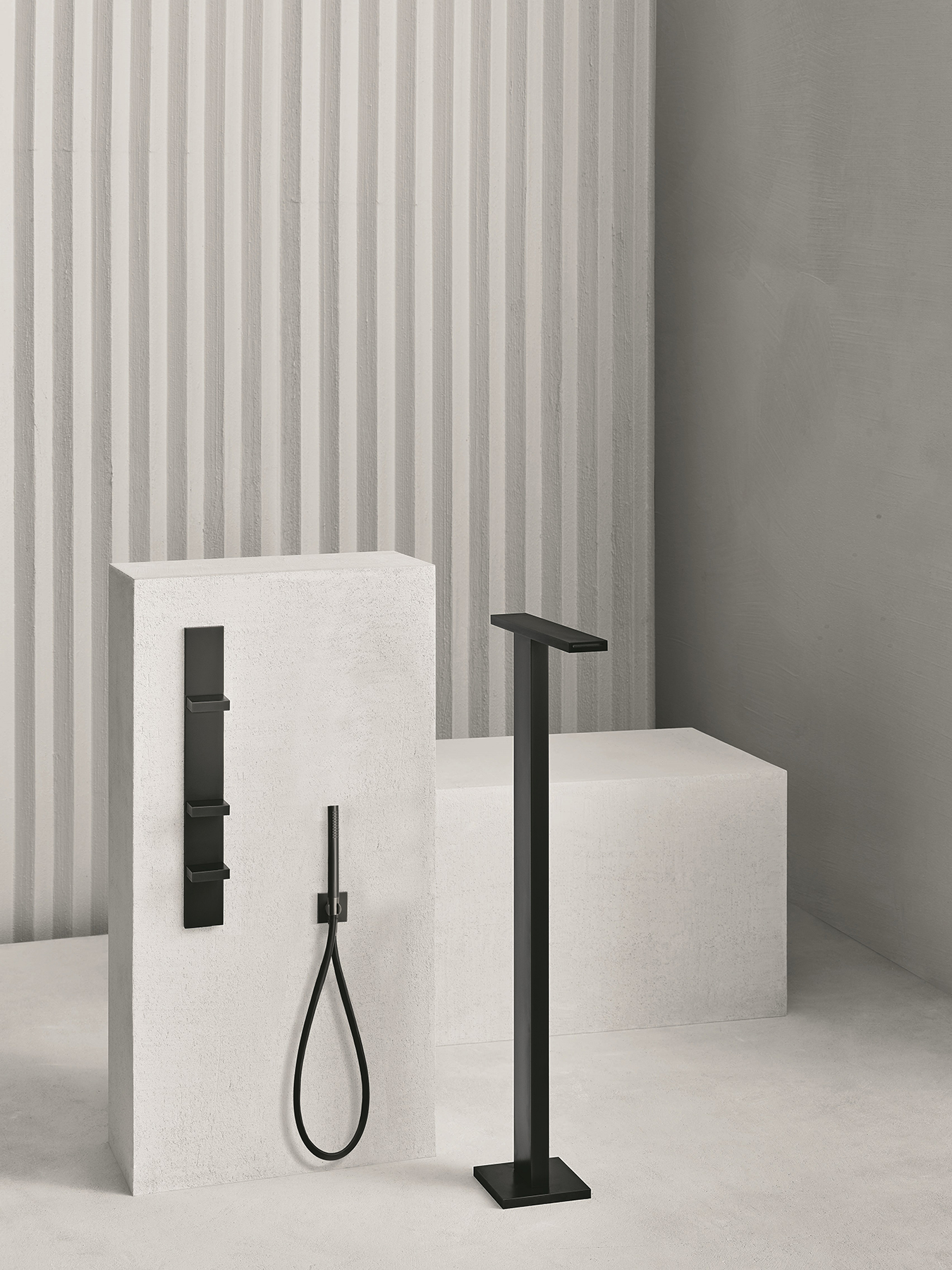 Modern AK/25 Floor Mounted Tub Filler with Wall Mounted Mixer with 2 Way Diverter