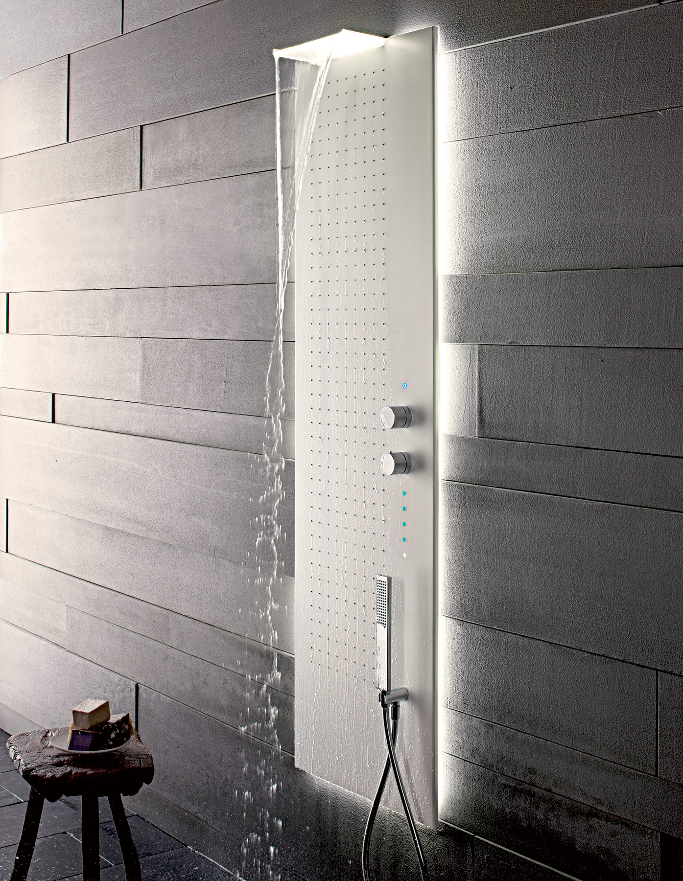Contemporary Acquapura Semi- Recessed Shower Panel