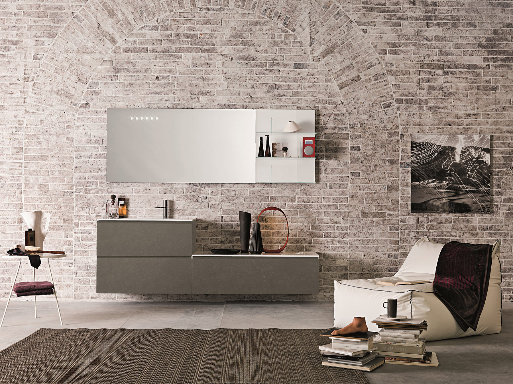 Contemporary Domino 44 Wall Mount Vanity Unit