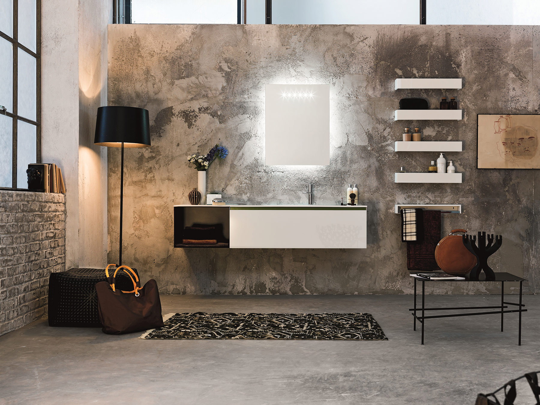 Modern Domino 44 Wall Mount Vanity Unit