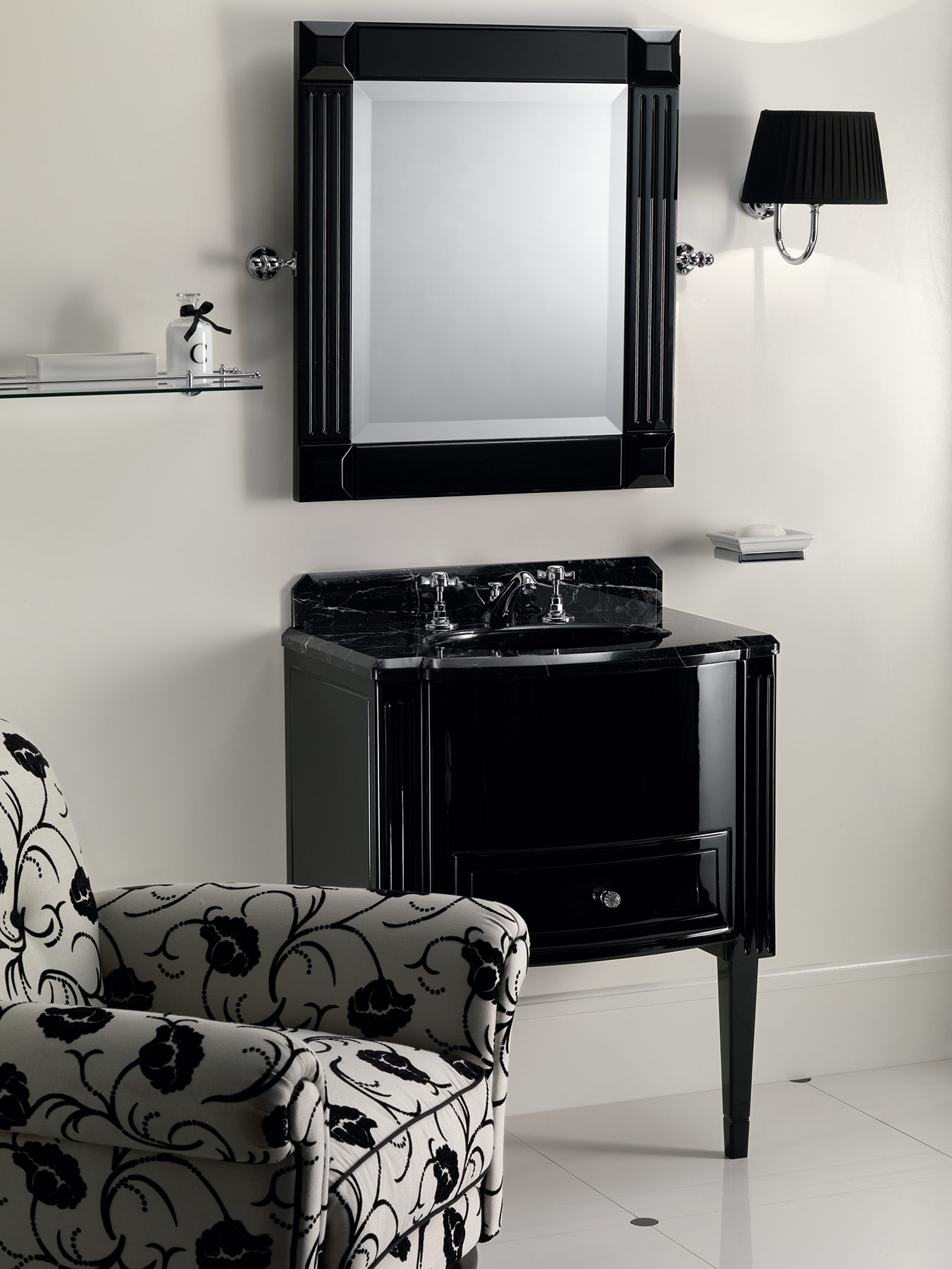Transitional Domino Wall Mount Vanity Unit
