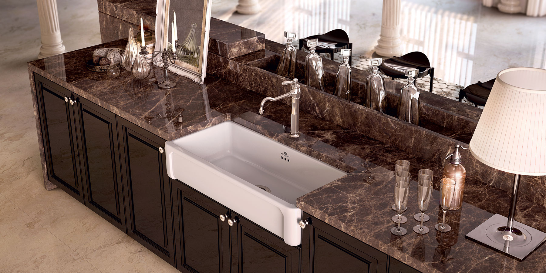 Transitional Henri II Farmhouse Kitchen Sink