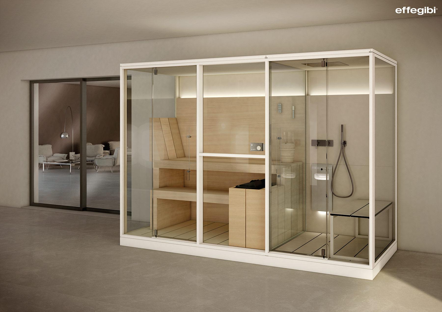 Contemporary Logica Twin Mid Floor Mount Sauna Shower Room