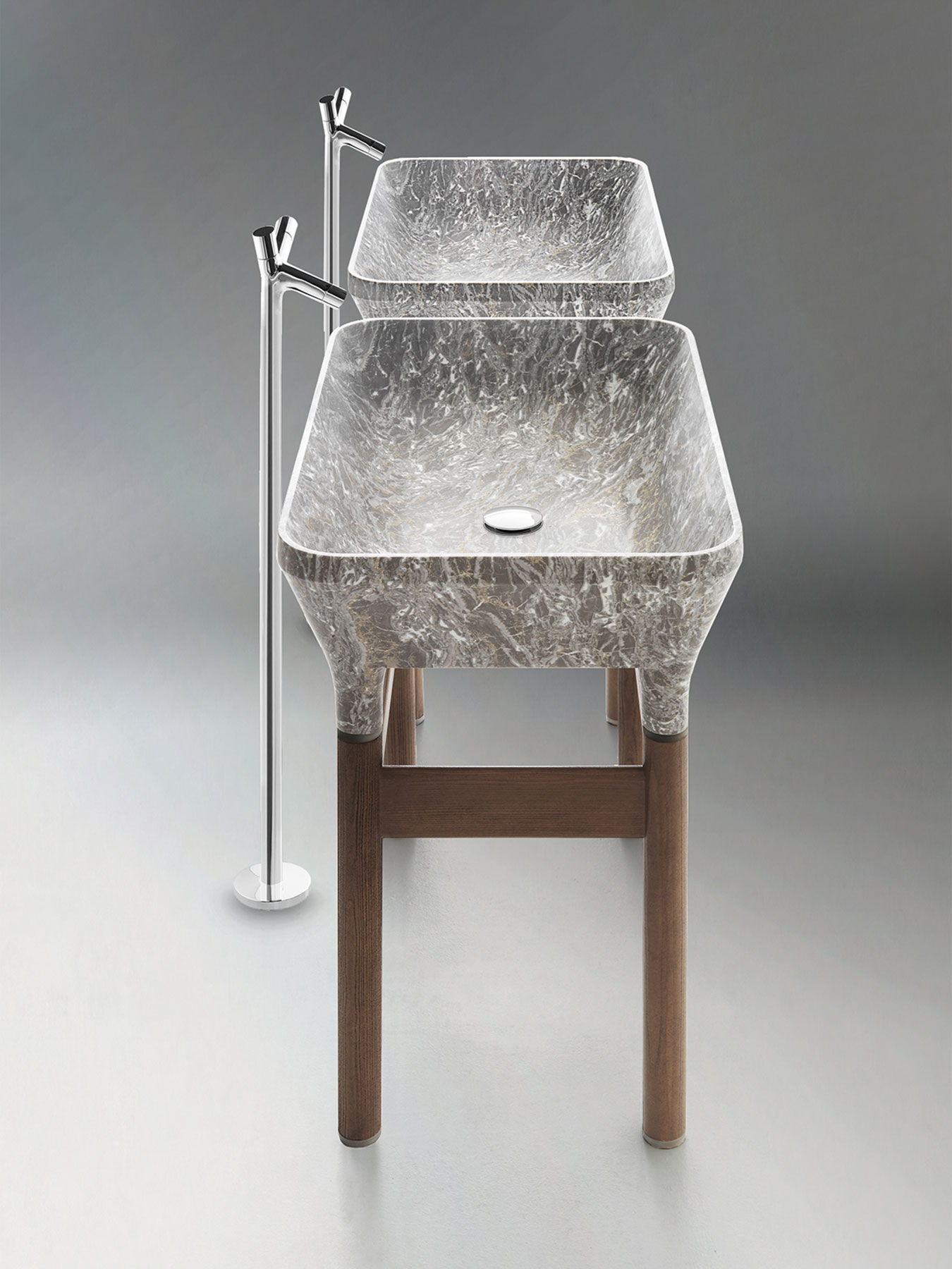 Transitional Loto Floor Mount Washbasin Set