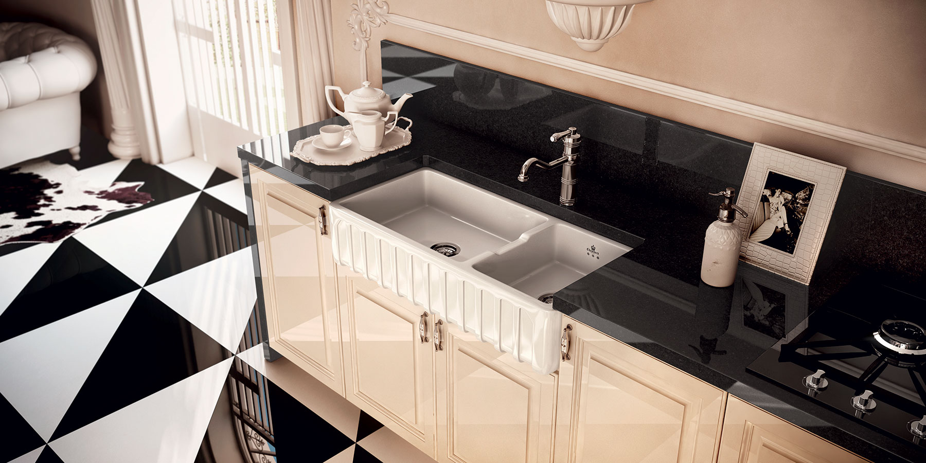 Transitional Louis III Farmhouse Kitchen Sink