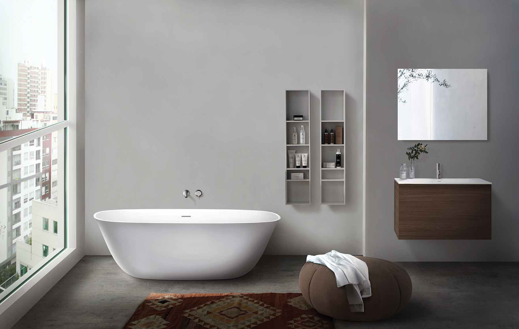 Modern Luna Freestanding Oval Bathtub