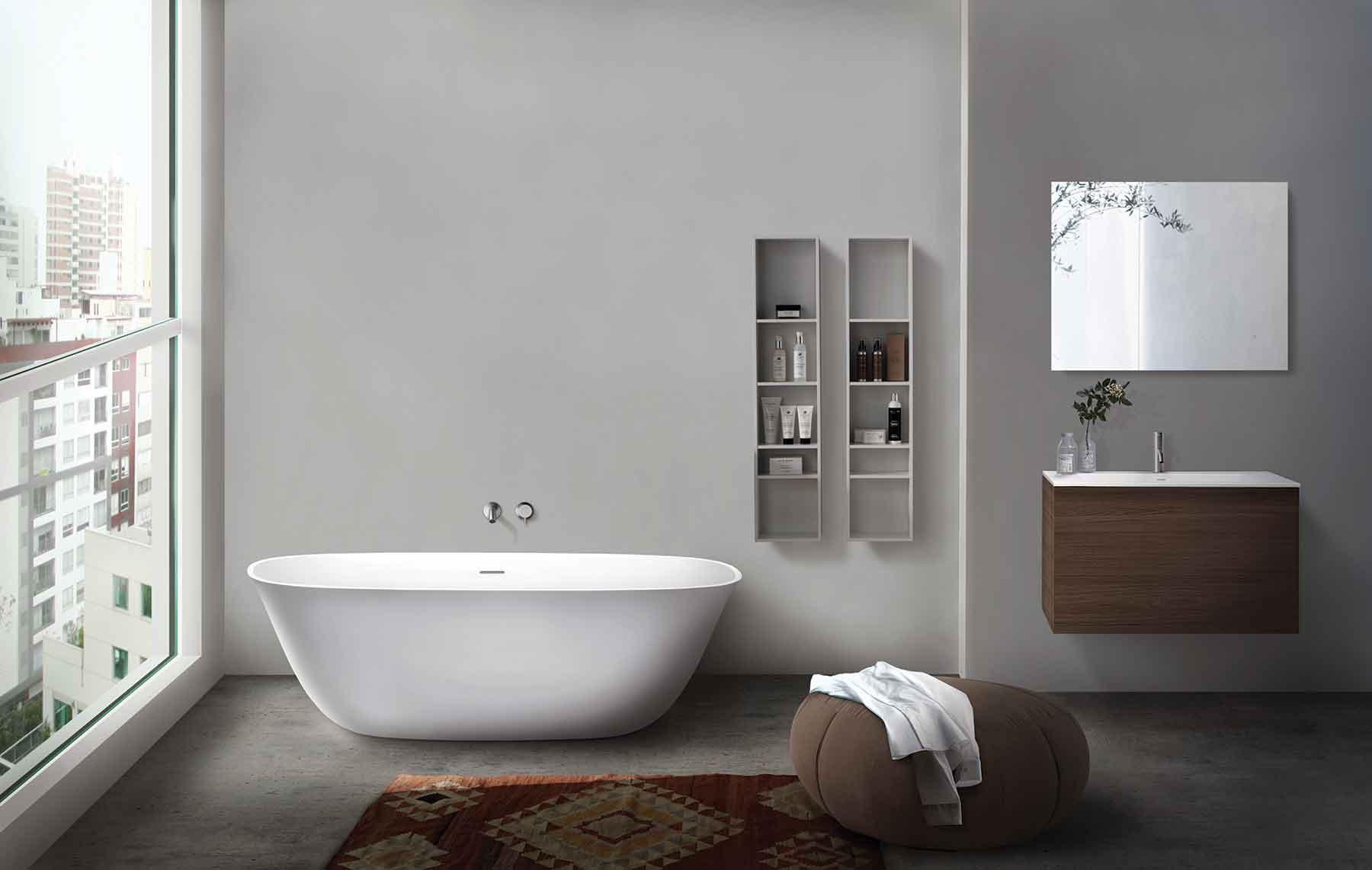 Modern Luna Freestanding Oval Bathtub