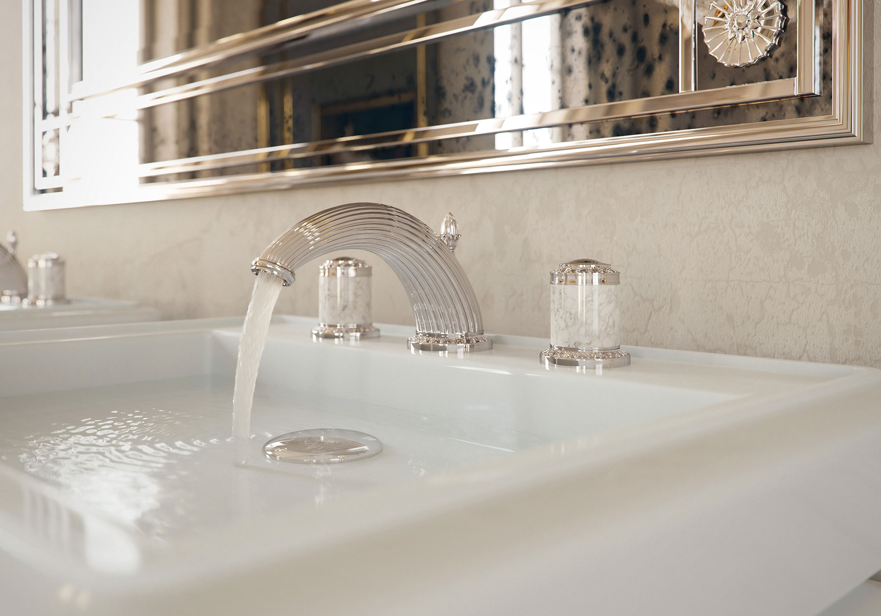 Transitional Malmaison Deck Mount Faucet