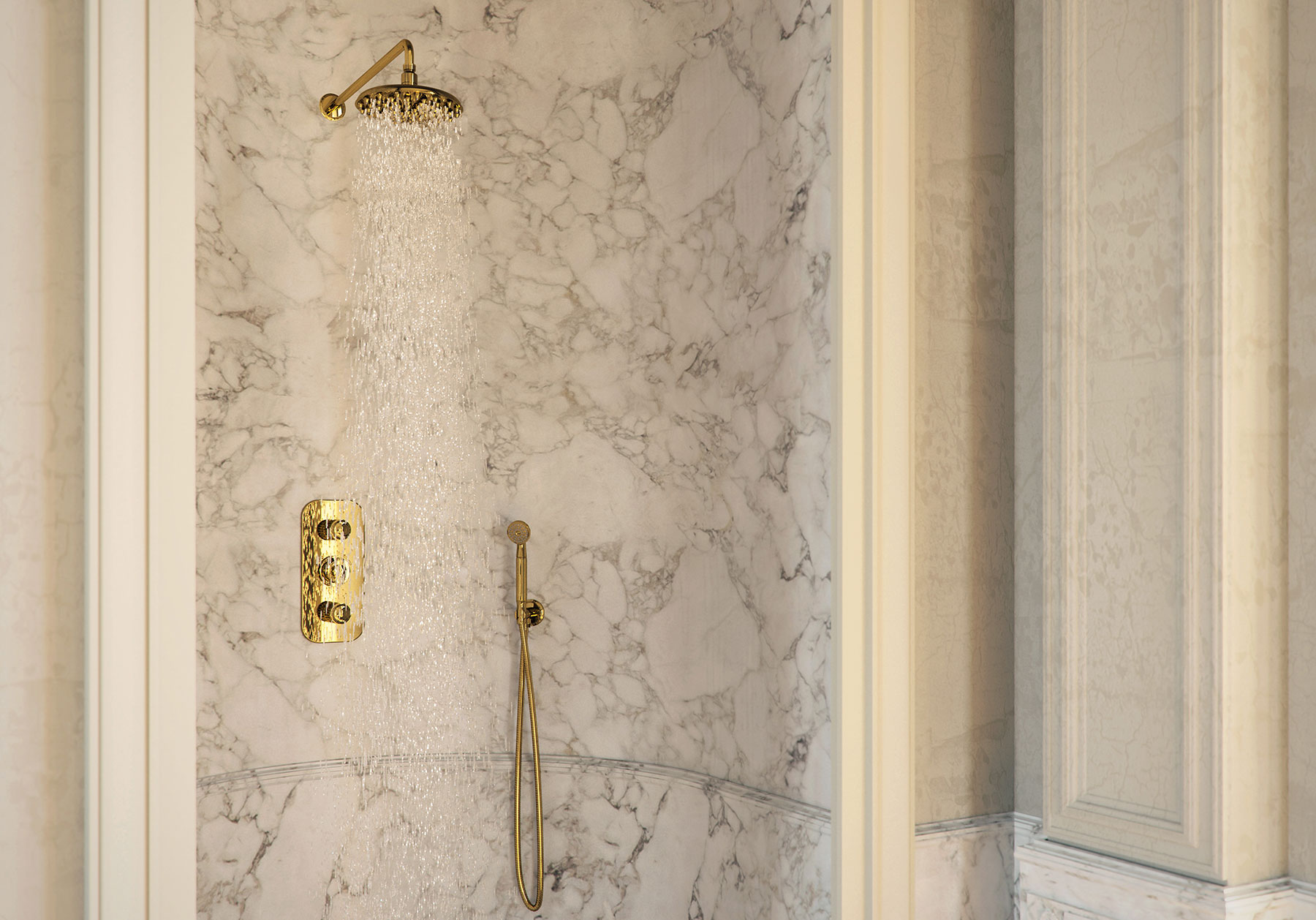 Traditional Malmaison Wall Mount Shower Set