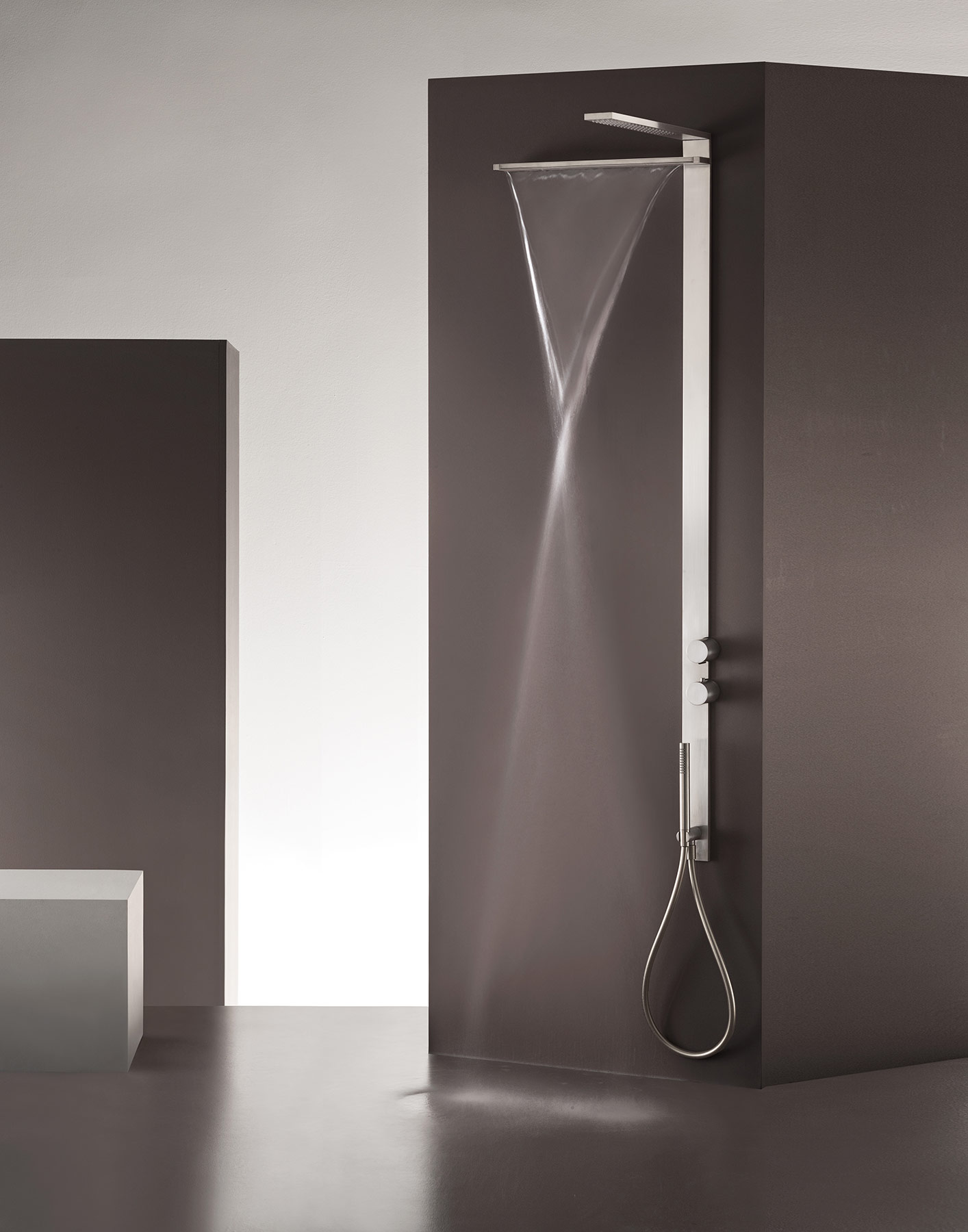 Contemporary Milano Slim Wall Mount Shower Column Hydrology