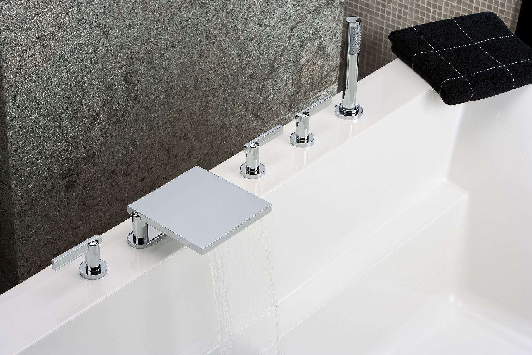 Modern Pinto Deck Mount Tub Filler