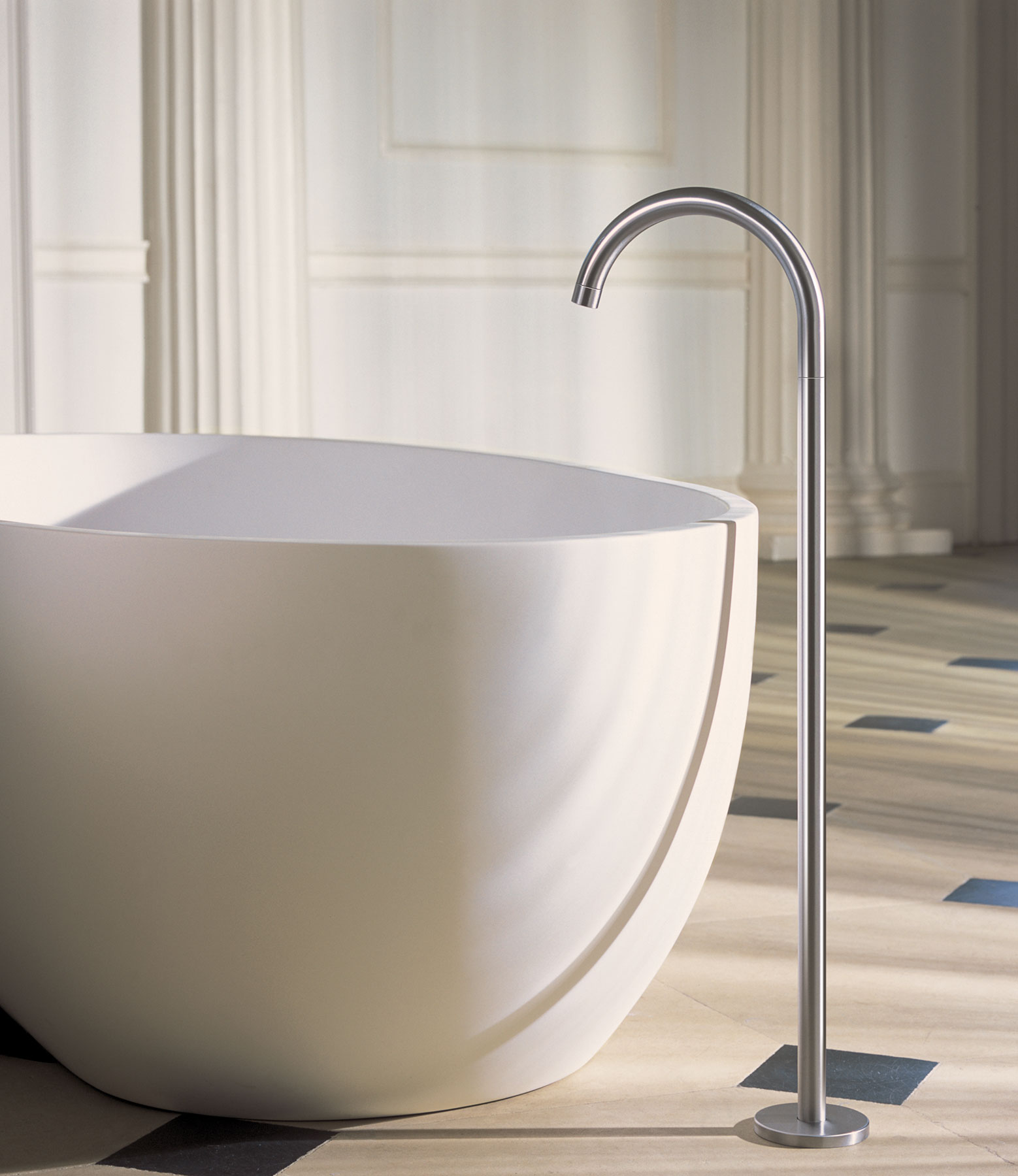 Transitional Vola Floor Mount Tub Spout   Hydrology
